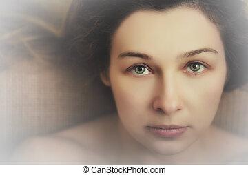 아름다운 여성, 와, 음탕한, 표현하는, 눈