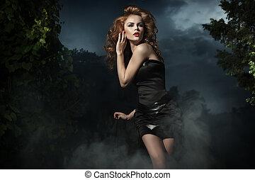 아름다운 여성, 자세를 취함, 통하고 있는, 저녁, 배경