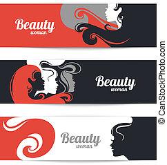 아름다운 여성, silhouette., 디자인, 본뜨는 공구, 카드, 유행, 배너