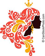 아름다운 여성, silhouette., 문신, 의, 떼어내다, 소녀, 머리