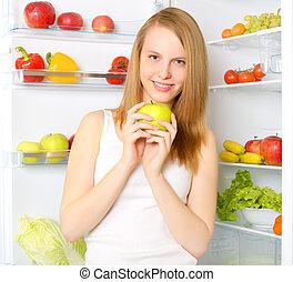 아름다운, 여아 미소, 냉장고