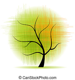 아름다운, 예술, 나무