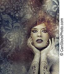 아름다운, 완전한, 브루넷의 사람, 아름다움, 개념, 매끄러운, 여자, 피부