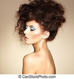 아름다운, 완전한, 여자, hairstyle., 사진, makeup., 우아한, 유행, 초상, 음탕한