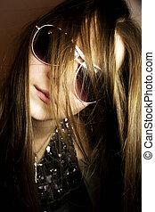 아름다운, 유행, 소녀, 에서, 색안경
