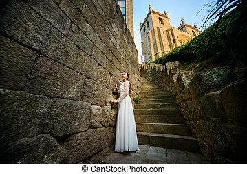 아름다운, 유행, 신부, 공간으로 가까이, 교회, 층계에