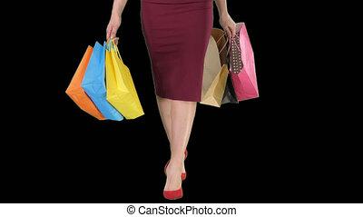 아름다운, 은 자루에 넣는다, 쇼핑하고 있는 여성, 걷기, shopping!, 은, 가다, 알파, 다리, 수로