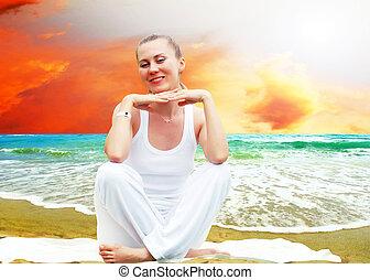 아름다운, 이완, 명란한, 나이 적은 편의, 열대적인, 백색, 바닷가, 여자