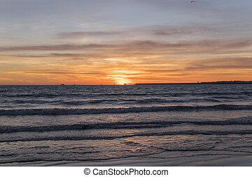 아름다운, 일몰 해변