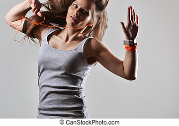 아름다운, 적당, 춤추고 있는 여성