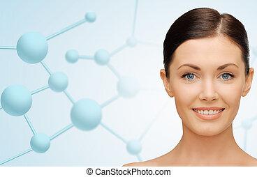 아름다운, 젊은 숙녀, 얼굴, 와, 분자