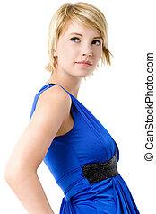 아름다운, 젊은 숙녀, 에서, 파랑, 칵테일, dress.