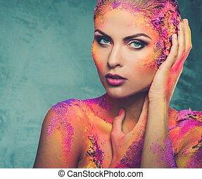 아름다운, 젊은 숙녀, 와, 개념의, 색채가 풍부한, 보디 아트