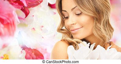아름다운, 젊은 숙녀, 와, 꽃