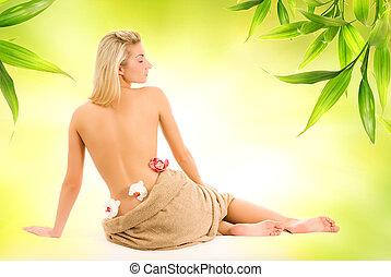 아름다운, 젊은 숙녀, 와, 난초, 꽃