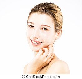 아름다운, 젊은 숙녀, 와, 날씬한, 얼굴