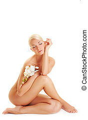 아름다운, 젊은 숙녀, 와, 백색, 난초