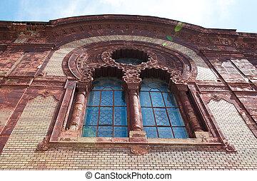아름다운, 조형, 너울거리다, 창문, 교회, 정면, 태양, stucco