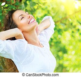 아름다운, 즐겁게 시간을 보내다, 여자, 자연, outdoor., 나이 적은 편의