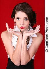 아름다운, 최신 유행스타일, 여자, 통하고 있는, 빨강 배경