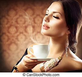 아름다운, 커피, 여자, 컵, 차, 또는