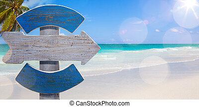 아름다운, 포스터, 해변, 예술, 보이는 상태