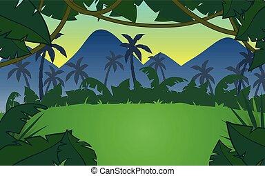 아름다운, 풍경, 산, 열대 다우림, 삽화, 열대적인, 벡터, 디자인, 태양, 단색화, 조경술을 써서 녹화하다