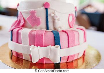 아름다운, 핑크, 생일 케이크
