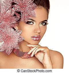 아름다운, 핑크, 여자, 아름다움, face., flowers., 고립된, makeup., skin., 유행, white., make-up., 완전한, 전문가, 소녀, 모델, art.