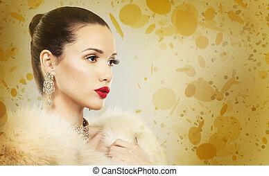 아름다운, 황금, 여자, 매력