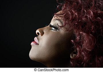 아름다운, 흑인 여성, 통하고 있는, 검정, 배경., 스튜디오 탄