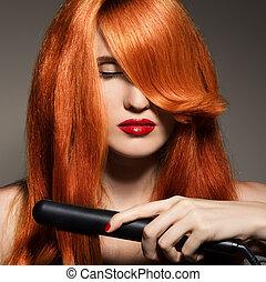 아름다운, girl., 건강한, 길게, hair.