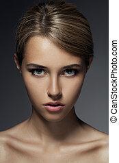 아름다운, portrait., 여자, 유행, 얼굴