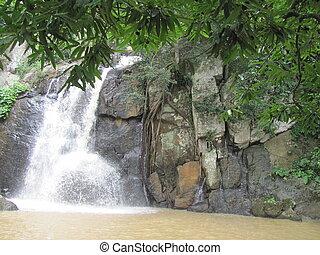 아름다운, waterfall.