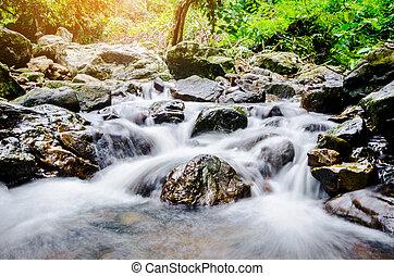 아름다운, waterfall., sarika, 놀랄 만한, 폭포