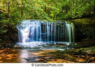 아름다운, watrefalls, 에서, 시골, 사우스 캐롤라이나