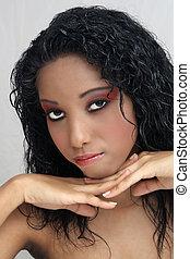 아름다운, west-indian, 10대의 소녀, (9)