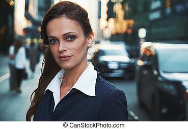 아름다운, woman., 사업, 우아, 성공