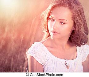 아름다움, 공상에 잠기는, 소녀, outdoors., 열대의, 모델