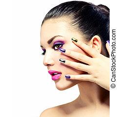아름다움, 다채로운, 제왕의, 손톱, makeup., 밝은, 메이크업