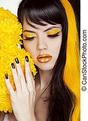 아름다움, 다채로운, hairstyle., 구성, 황색, 손톱, 색, 검정, 길게, 매니큐어, 초상, polish., 소녀, 머리