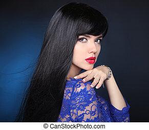 아름다움, 모델, 소녀, 와, 건강한, 검정, hair., 아름다운, 브루넷의 사람, woman., 길게, 매끄러운, 빛나는, 똑바로, hairstyle., 머리, 화장품, haircare, extension.
