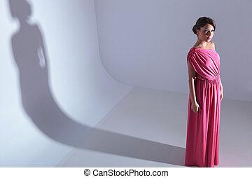아름다움, 보고 있는 여성, 위로의, 에, 그만큼, 카메라
