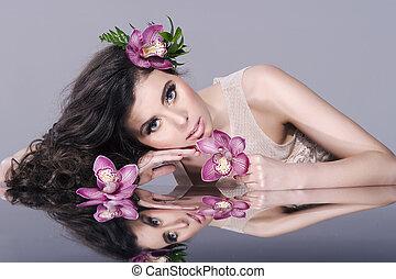 아름다움, 소녀, 와, 꽃, .beautiful, 모델, 여성 얼굴