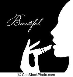 아름다움, 소녀, silhouette., 아름다운 여성, 벡터