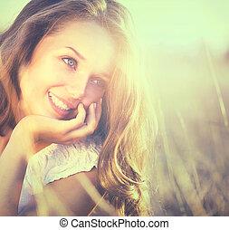 아름다움, 신선한, 공상에 잠기는, 소녀, outdoors., 자연