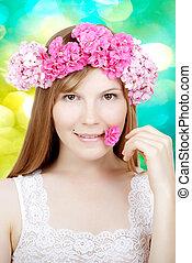 아름다움, 여성 얼굴, 와, 꽃