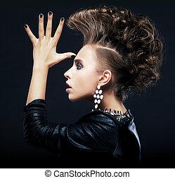 아름다움, 여자, 와, 땋아서 늘어뜨린 머리, 창조, 머리 형, 예포를 쏘는 것