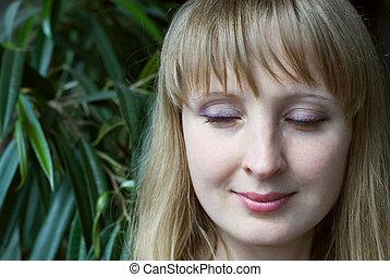 아름다움, 여자, 와, 은 눈을 감았다