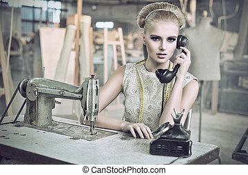 아름다움, 여자, 와, a, 전화